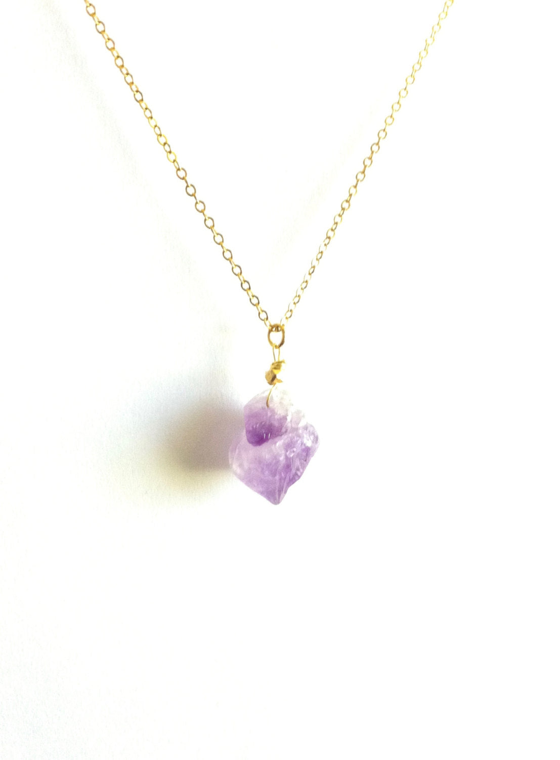 Raw Amethyst Necklace | Natural Raw Amethyst Jewelry | IB Jewelry