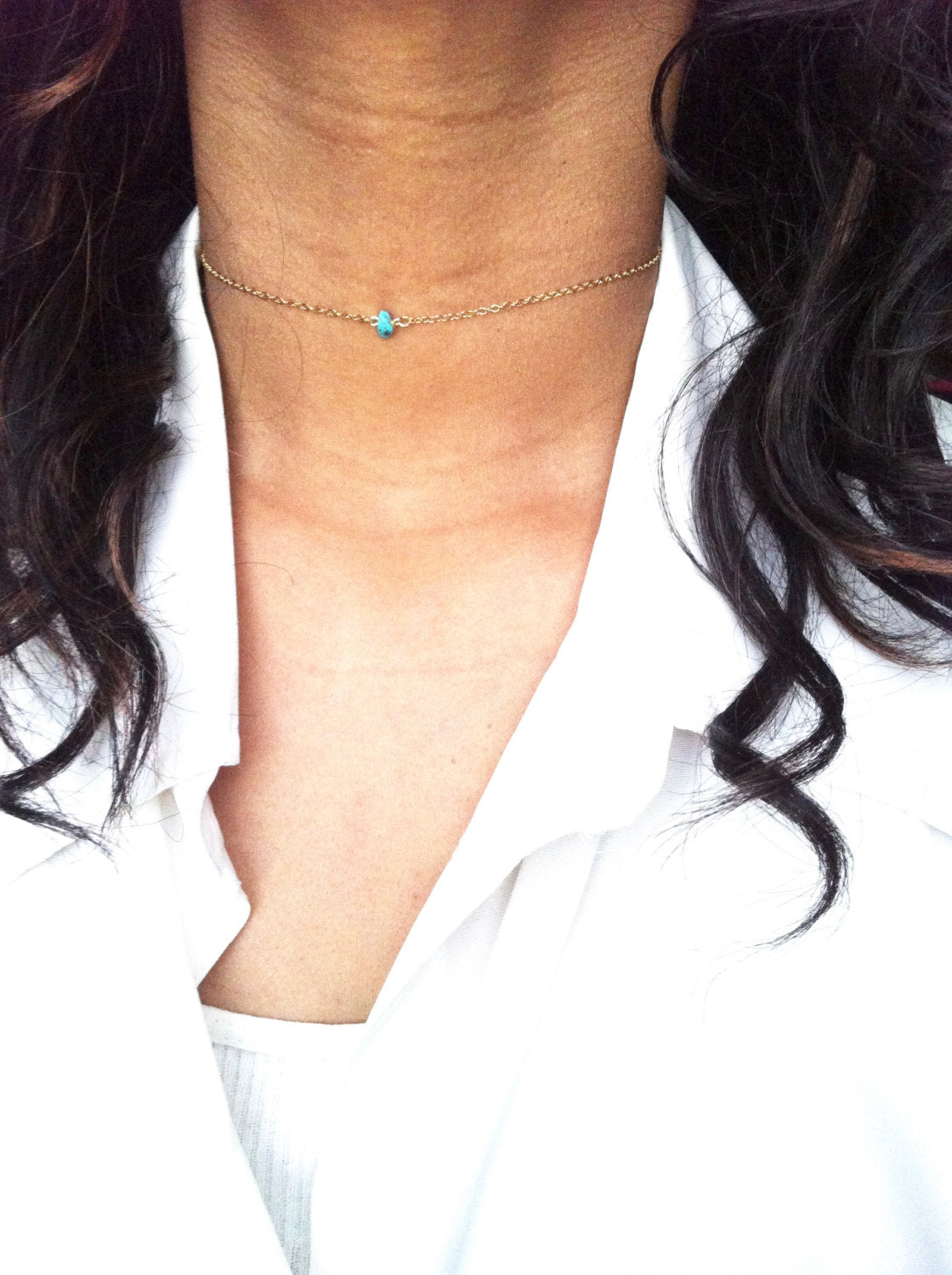 Simple Turquoise Thin Chain Choker Necklace | IB Jewelry