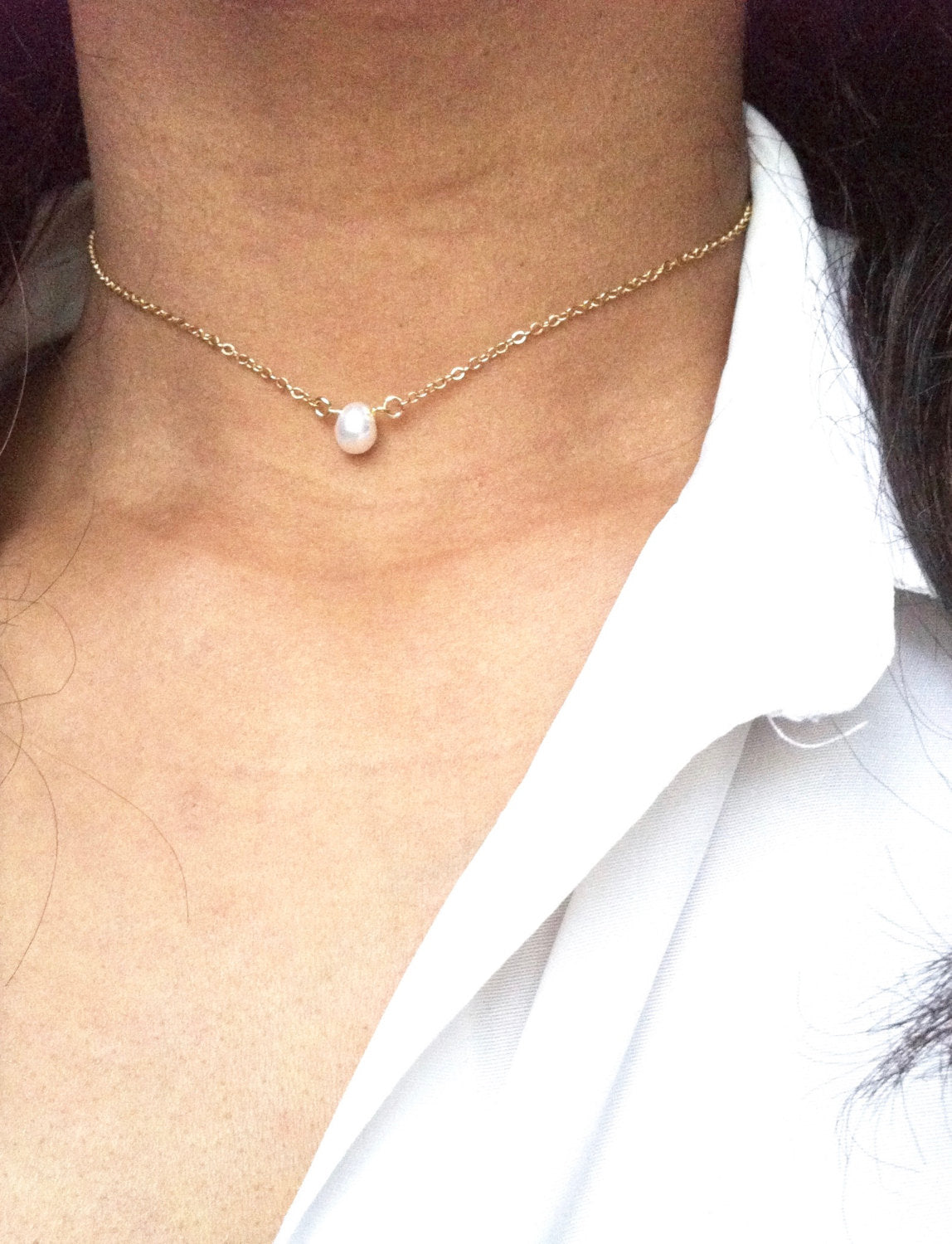 Small Delicate Single Pearl Choker Necklace | Dainty Pearl Choker Necklace | Simple Everyday Choker | IB Jewelry