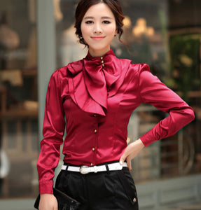 Stand Collar Blouse Designs : Korean style fashion women work wear long puff sleeve stand collar