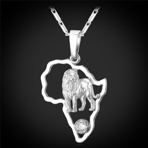 Unisex Lion Africa Pendant Necklace
