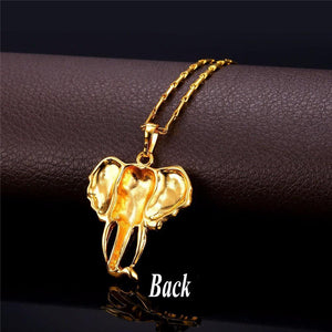 Unisex Gold Color Elephant Necklace