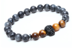 "The ""Grey Clouds"" Marble Beads Charm Bracelet"