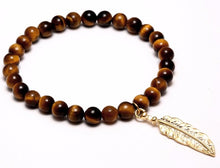 "The ""Tiger's Eye and Gold Feather"" Marble Bead Charm Bracelet"