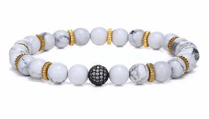 "The ""Deep Blue"" And ""White Clouds"" Marble Beads Charm Bracelet Combo!"
