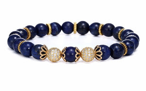 "The ""Deep Blue"" Marble Beads Charm Bracelet"
