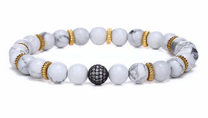 "The ""White Clouds"" and ""Black Clouds"" Marble Beads Charm Bracelet"