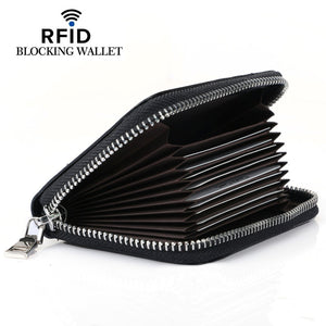 RFID Blocking High Capacity Zipper Card Holder Wallet