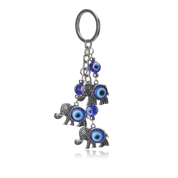 Blue Evil Eye Elephant Charms Keychain