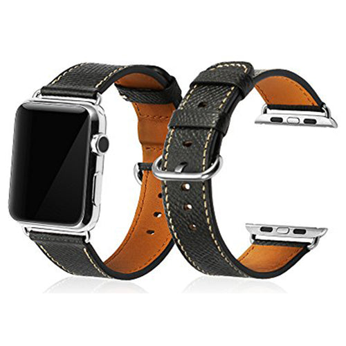 The Black Genuine Soft Leather Compatible Apple Watch Strap