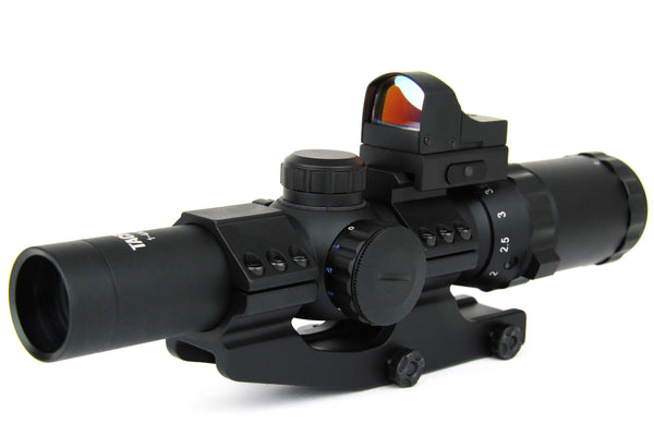 1-4X24 TRI ILL. CQB SCOPE WITH CANTILEVER MOUNT/MINI RED DOT/DOT