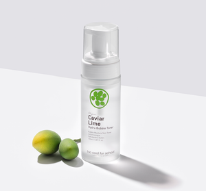 A bubble textured, therefore fast-absorbing facial toner that hydrates and soothes skin texture as the first step of skincare while minimizing irritation.