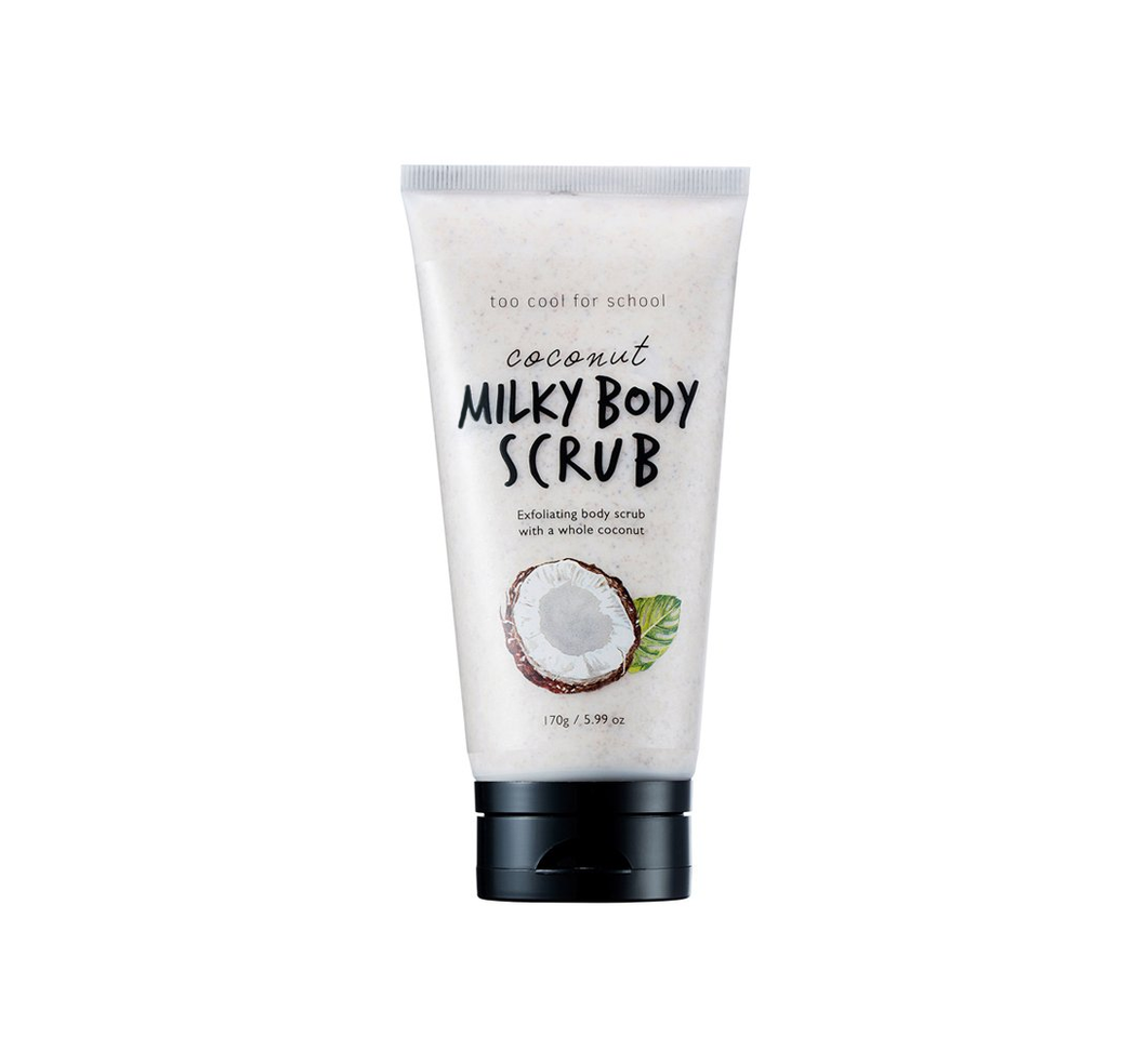 Coconut Milky Body Scrub is a mild and gentle exfoliating body wash made with the entire coconut shell found to exfoliate resulting in dewy and silky skin. (5.99 oz)
