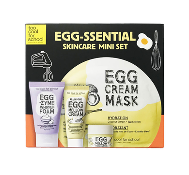 Too Cool For School Egg-ssential Skincare Mini Set is an essential 4-piece skincare travel-size set ($24 Value) comprised of a facial cleanser, a hydrating sheet mask, a firming moisturizer, and a hydrating body butter for a complete skincare regimen.
