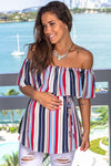 Navy Striped Off Shoulder Top New Arrivals, Tops, On Sale Hello Miz/ CMT1739D - Navy/Red $11.25