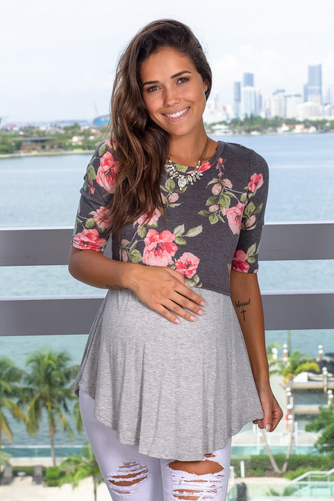 Black Floral Top with Sleeves New Arrivals, Tops Hello Miz/ CMT1716B - Black/Gray $10.75