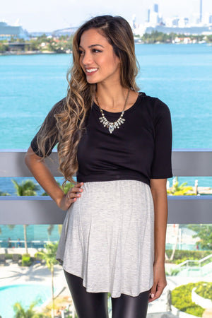 Black and Gray Top New Arrivals, Tops Hello Miz/ CMT1716S - Black/Grey $9.75