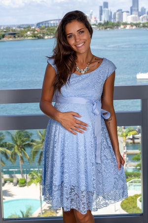 Blue Lace Short Dress with Tied Waist New Arrivals, Dresses, Short Dresses Hello Miz/ CMD1064 - Aqua $16.75