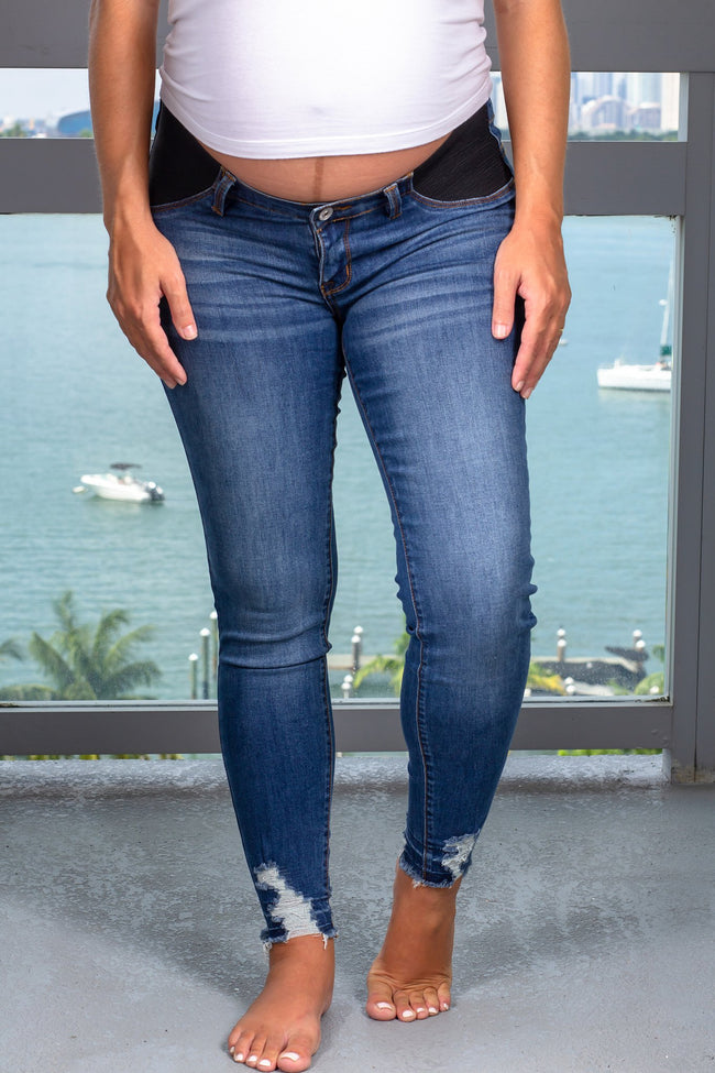 Blue Maternity Skinny Jeans New Arrivals, Bottoms Kancan/ KC5186D - Dark $19.50