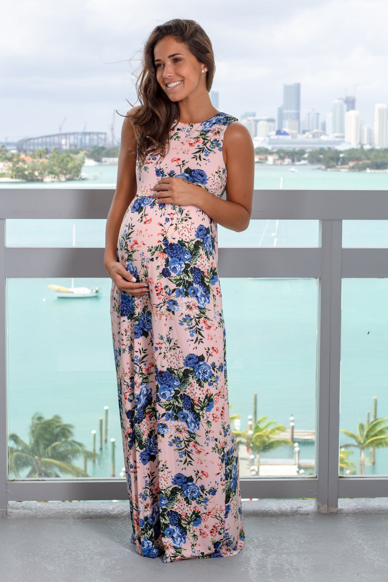 Blush and Blue Floral Maxi Dress