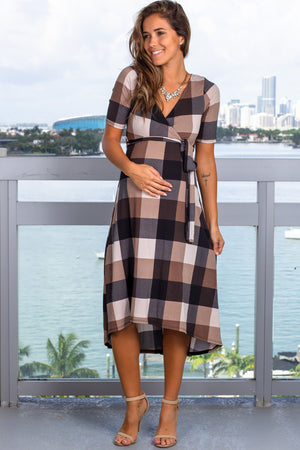 Brown Plaid Midi Dress New Arrivals, Dresses, Short Dresses Hello Miz/ CMD1623Ai- Brown $16.75