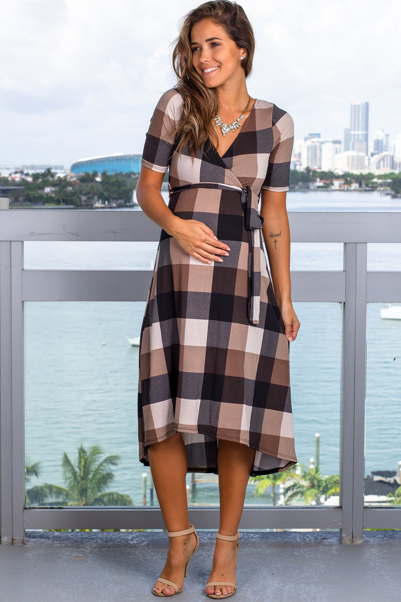 Brown Plaid Midi Dress