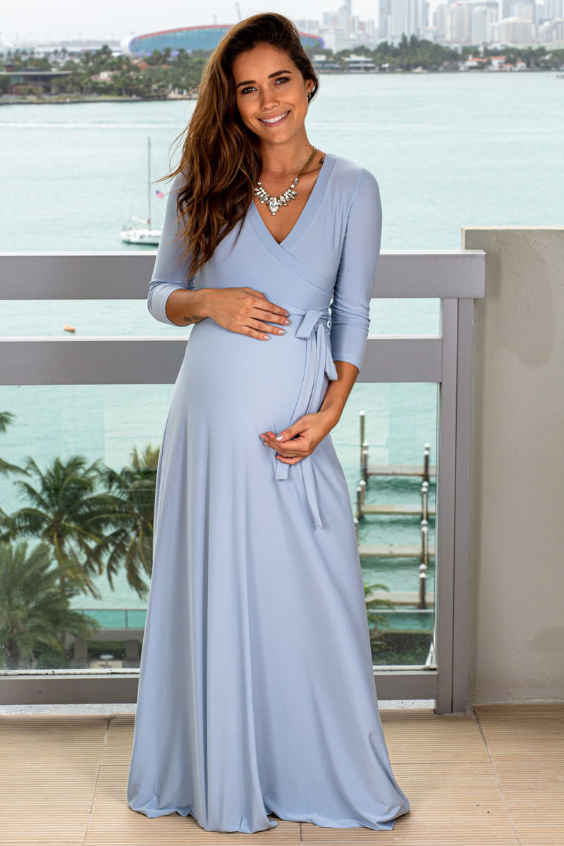 Chambray Maxi Dress with 3/4 Sleeves