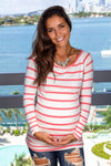Coral Striped Top with Sleeves