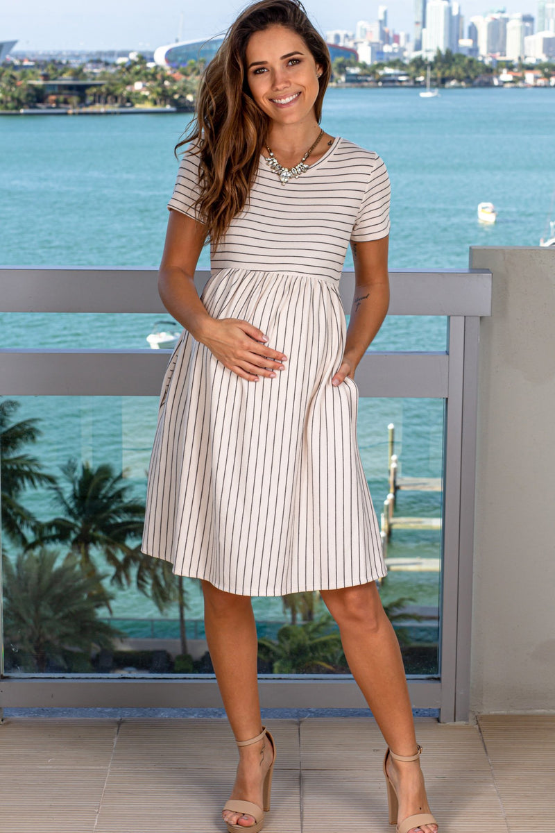 Cream Striped Short Dress New Arrivals, Dresses, Short Dresses Hello Miz/ CMD1995A - Cream $12.75