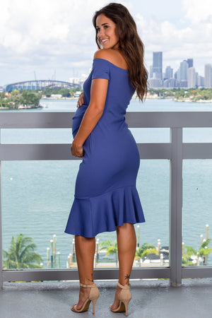 Denim Blue Off Shoulder Midi Dress New Arrivals, Dresses, Short Dresses Hello Miz/ CMD1905s - Denim Blue $10.75