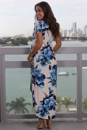 Ivory and Blue Floral High Low Dress with Short Sleeves New Arrivals, Dresses, Maxi Dresses Vanilla Bay/ VD40108 - Ivory/Blue