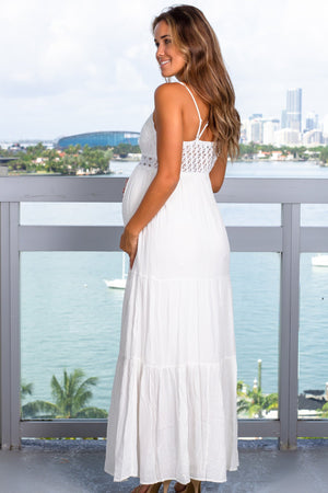 Ivory Crochet Top Maxi Dress New Arrivals, Dresses, Maxi Dresses Wishlist/ Wl19-2269 - Ivory $31.95