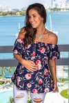 Navy Floral Ruffled Top New Arrivals, Tops, On Sale Hello Miz/ CMT1699A - Navy $11.25