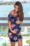 Navy Floral Off Shoulder Short Dress New Arrivals, Dresses, Short Dresses Hello Miz/ CMD1590A- Navy $12.25