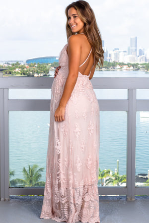 Blush Embroidered Maxi Dress with Criss Cross Back New Arrivals, Dresses, Maxi Dresses Wishlist/ WL18-1918 - Blush $29.95