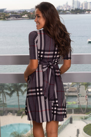 Gray Plaid Short Dress New Arrivals, Dresses, Short Dresses, On Sale Hello Miz/ CMD1248 - Grey $15.75