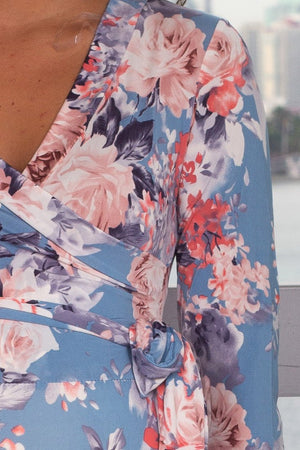 Blue and Pink Floral Wrap Maxi Dress New Arrivals, Dresses, Maxi Dresses, On Sale Vanilla Bay/ VD7845 - Blue