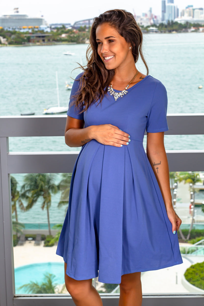 Denim Blue Short Dress New Arrivals, Dresses, Short Dresses Hello Miz/ CMD1883S - Denim Blue $12.75