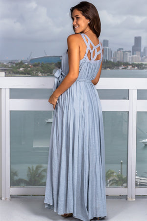 Dusty Blue Maxi Dress with Cut Out Detail New Arrivals, Dresses, Maxi Dresses, On Sale Wishlist/ Wl18-2179 - Dove $27.95