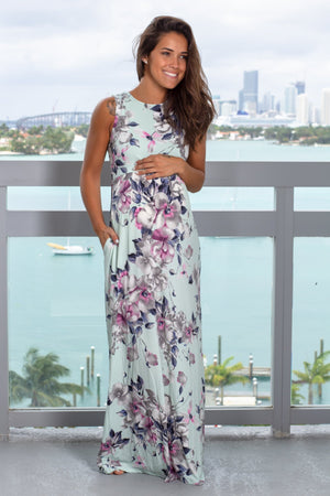 Dusty Mint Floral Racerback Maxi Dress with Pockets New Arrivals, Dresses, Maxi Dresses Vanilla/ VD40058 - Mint