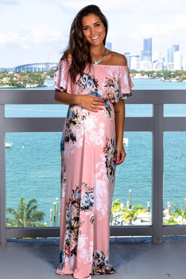 Dusty Pink Floral Off Shoulder Maxi Dress New Arrivals, Dresses, Maxi Dresses, On Sale Beeson River/ D3500 - Dusty Pink $19.50