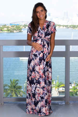 Navy Floral Maxi Dress with Twist Front New Arrivals, Dresses, Maxi Dresses Beeson River/ D3377HS-1 - Navy $19.50