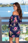 Navy Floral Short Dress with Sleeves New Arrivals, Dresses, Short Dresses Hello Miz/ CMD1890A- Navy $10.75