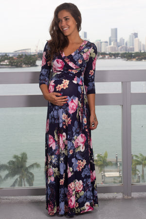 Navy and Pink Floral Wrap Dress with 3/4 Sleeves New Arrivals, Dresses, Maxi Dresses, On Sale Hershe/ D2611FACM - Navy