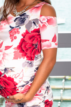 Ivory and Red Floral Open Shoulder Midi Dress New Arrivals, Dresses, Short Dresses Hello Miz/ CMD1532L - Ivory/ Red $11.25