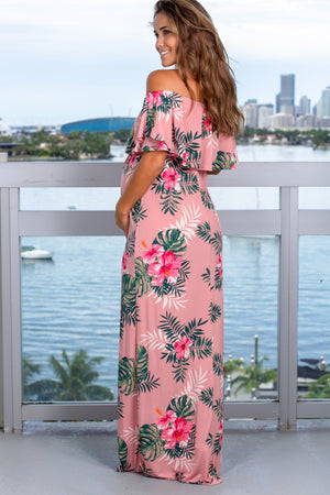 Rose Floral Off Shoulder Maxi Dress New Arrivals, Dresses, Maxi Dresses Beeson River/ D3500-30 - D. Pink $19.50