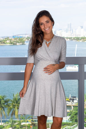 Gray Short Dress with Tie Back New Arrivals, Dresses, Short Dresses, On Sale Hello Miz/ CMD1036 - Grey $13.75