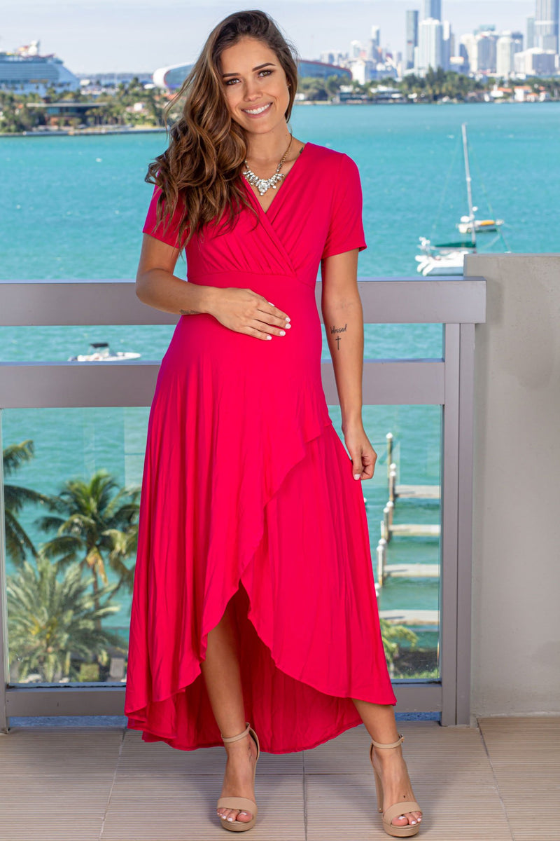 Hot Pink High Low Dress