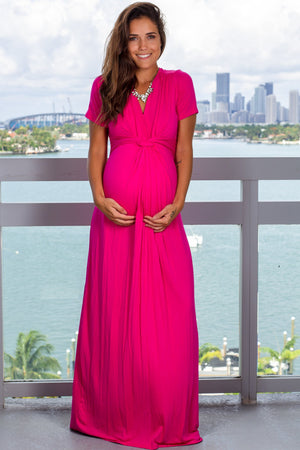Hot Pink Maxi Dress with Twist Front New Arrivals, Dresses, Maxi Dresses Beeson River/ D3377HS - Hot Pink $14.50