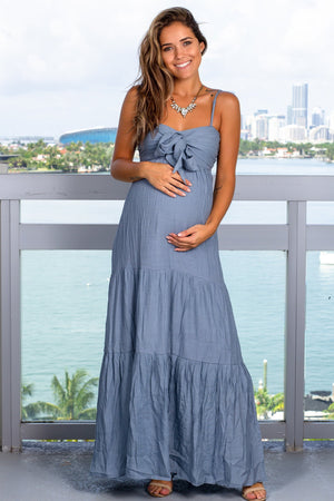 Light Blue Maxi Dress with Tie Front New Arrivals, Dresses, Maxi Dresses, On Sale Wishlist/ WL18-1933 - Dove $21.95